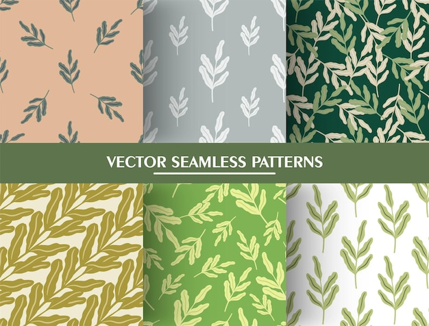 Set of seamless pattern in minimalistic style with vintage leaf branches silhouettes.