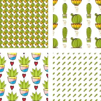 サボテンとシチューのシームレスなパターンをポットに設定します。