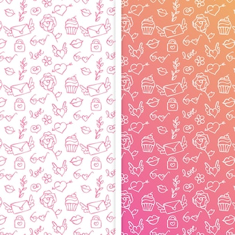 Set of seamless pattern for valentines day with doodle elements