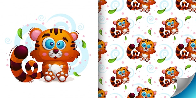Set of   seamless pattern with animal tiger
