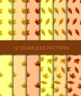 Set of seamless pattern with autumn leaves