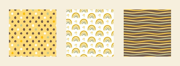 Set seamless pattern with bees on a summer background