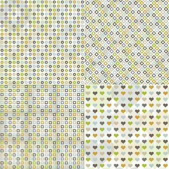 Set of seamless pattern with circles, squares, hearts and rhombuses