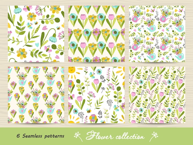 Set of seamless pattern with colorful flowers and leaves