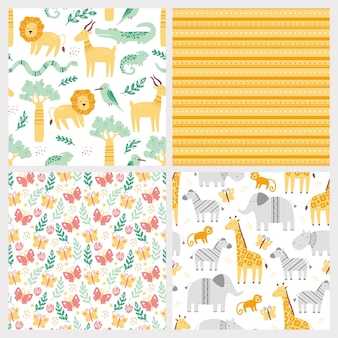 Set of seamless pattern with cute african zoo animals.