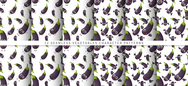 Set of   seamless pattern with cute cartoon eggplant vegetables characters isolated