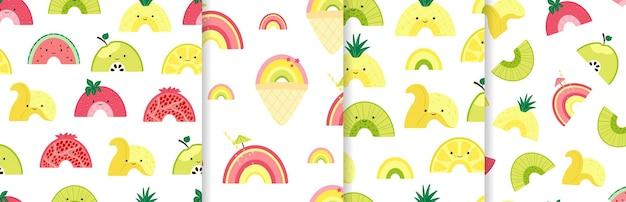 귀여운 과일 무지개로 매끄러운 패턴을 설정합니다. 다채로운 과일, 아이스크림, 칵테일 캐릭터가 있는 배경. 벽지, 섬유, 포장지를 위한 여름 과일 조각이 있는 그림. 벡터
