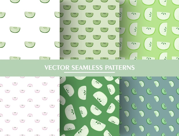 Set of seamless pattern with doodle apple slices ornament. green apple slice pattern collection.