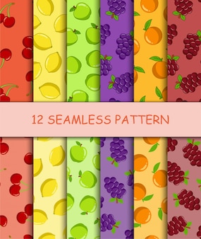 Set of seamless pattern with fruit