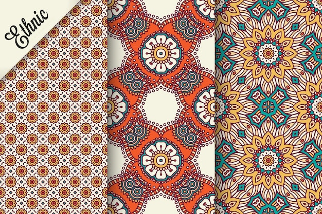 Set of seamless pattern with geometric elements
