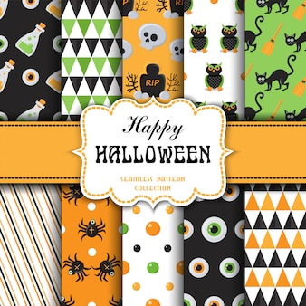 Set of seamless pattern with halloween theme