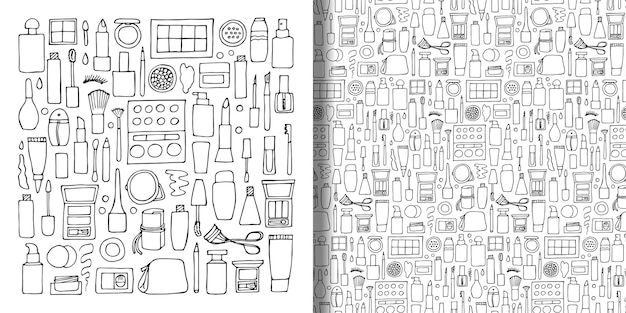 Set and seamless pattern with hand drawn decorative cosmetics doodle make up wallpaper Premium Vector