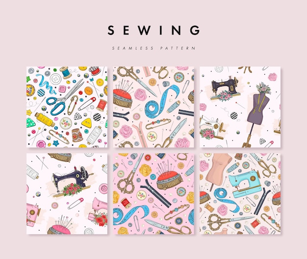 Set of seamless pattern with hand drawn sewing elements