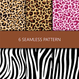Set of seamless pattern with leopard and zebra skin