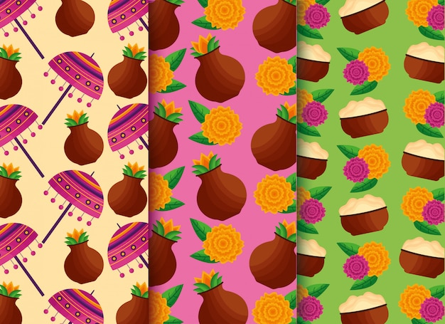 Set of seamless pattern with onam festival theme