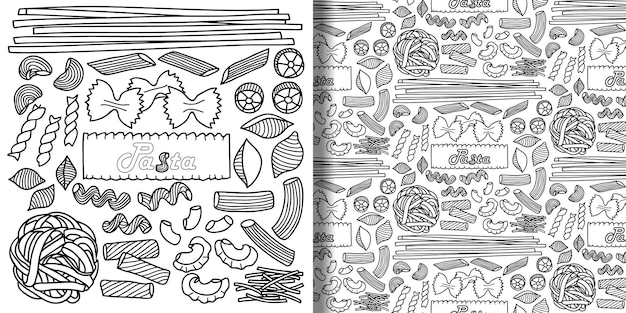 Set and seamless pattern with pasta elements for menu backgrounds textile prints