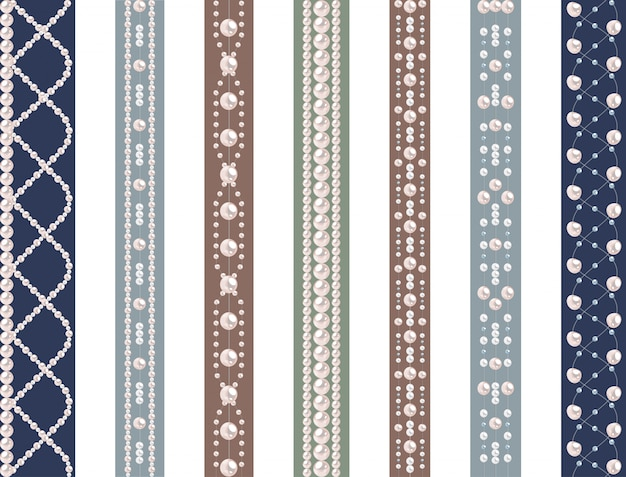 Set of seamless pattern with pearls
