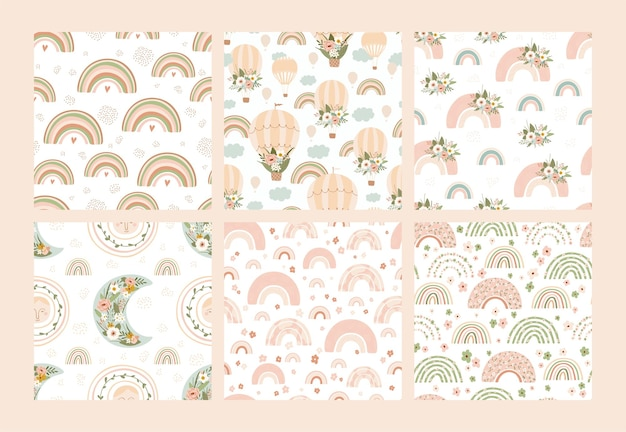 Set of seamless pattern with rainbows, air balloons, suns, moons, birds and flowers in pastel colors
