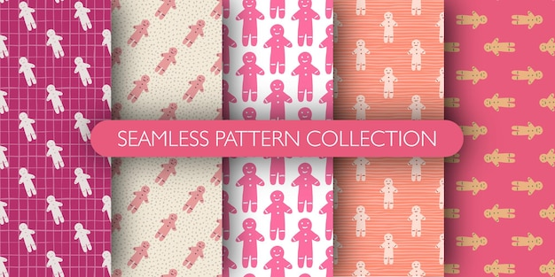 Set of seamless pattern with tasty gingerbread man cookies silhouettes.