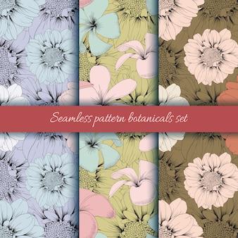 Set of seamless pattern zinnia and frangipani flowers background.