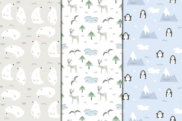 Set of  seamless patterns of alaska. nature and animals, eskimos. scandi style