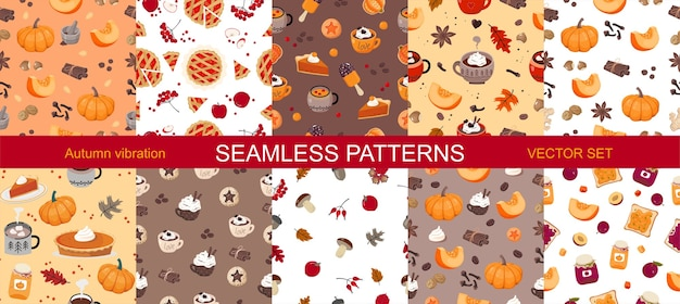 A set of seamless patterns of autumn vibes.