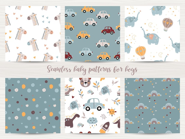 Set of seamless patterns for baby boys.  illustration for wrapping paper and scrapbooking
