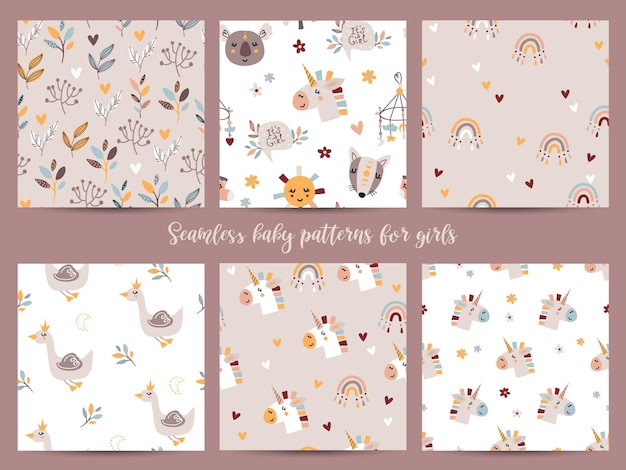 Set of seamless patterns for baby girls.  illustration for wrapping paper and scrapbooking