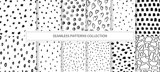 Set of seamless patterns in black and white
