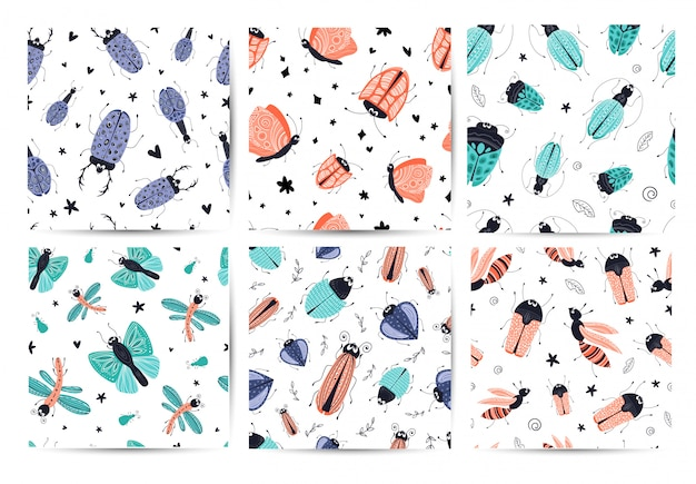 Set of seamless patterns - cartoon beetle