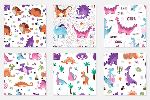 Set of seamless patterns - cartoon dinosaurs