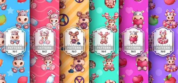 Set of seamless patterns of cute characters