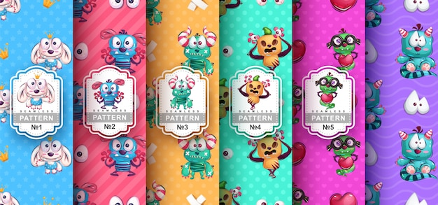 Set of seamless patterns of cute monster