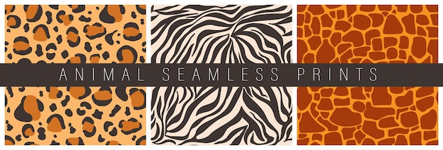Set of seamless patterns of decorative animal prints abstract skin of leopard giraffe tiger