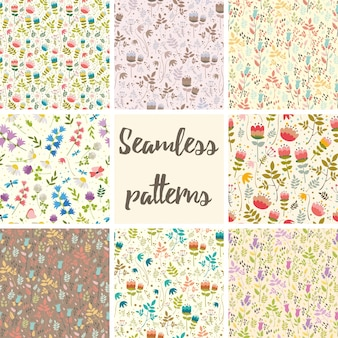 Set seamless patterns flowers
