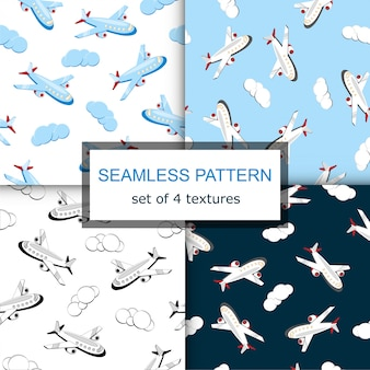 A set of seamless patterns from plane with clouds