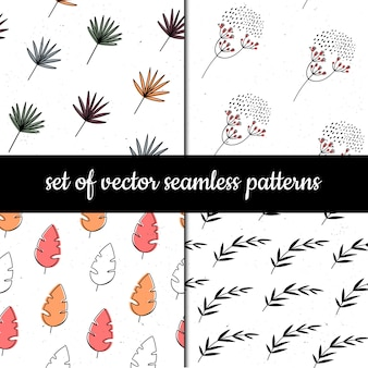 Set of seamless patterns. herbs and plants