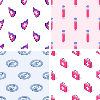 Set of seamless patterns of medical elements