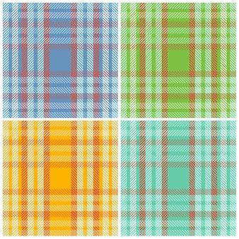 Set seamless patterns scottish striped fabric.