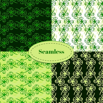 Set of seamless patterns for st. patrick's day. clover hand drawn seamless pattern vector set