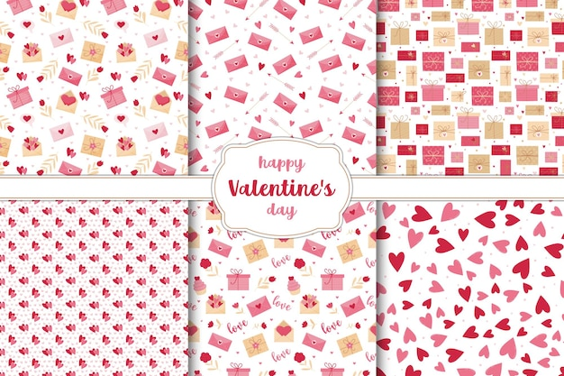 Set of seamless patterns for valentine's day. hearts, flowers, letters and gifts on a white background.