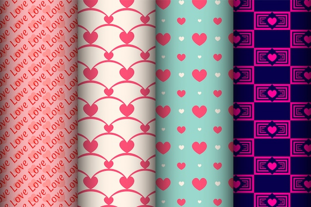 Set of seamless patterns for valentine's day