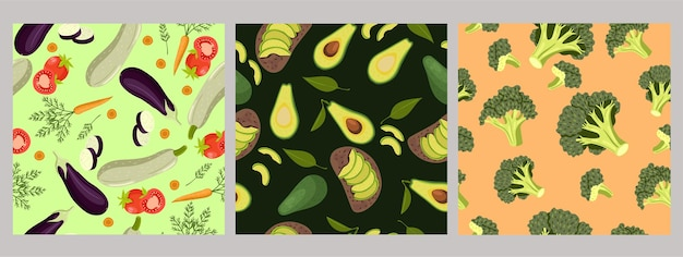 Set of seamless patterns of vegetables