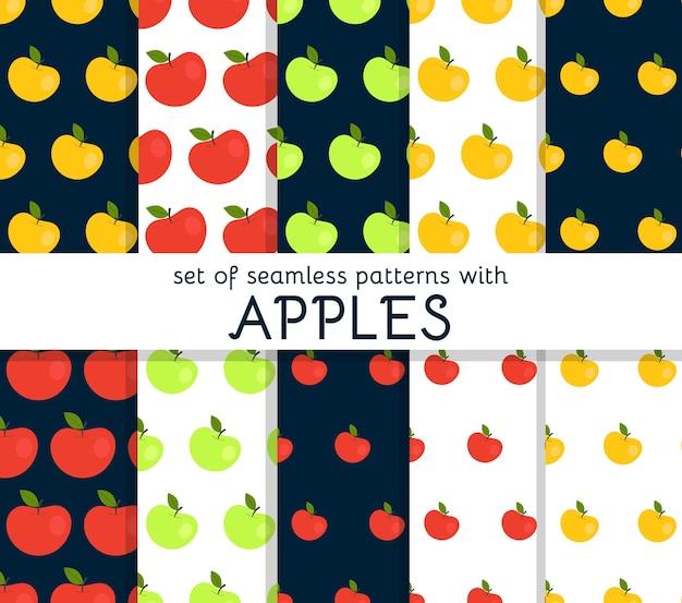 Set of seamless patterns with apples.