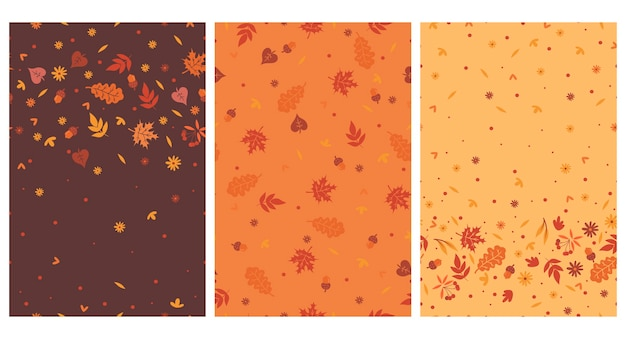 Set of seamless patterns with autumn leaves.