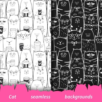 Set of seamless patterns with black and white cats