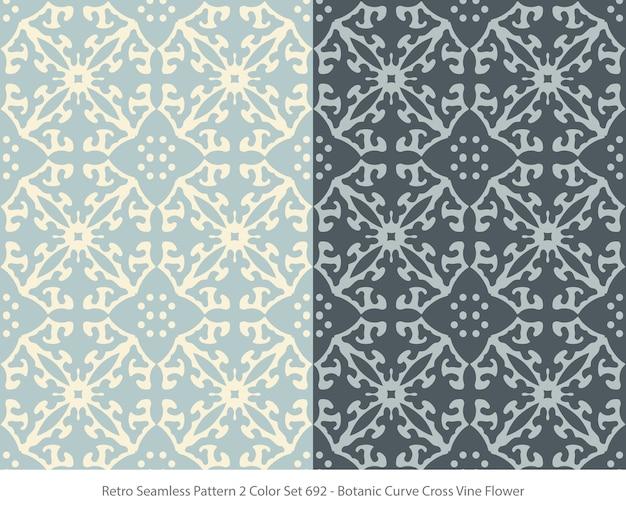 Set of seamless patterns with botanic curve vine flower