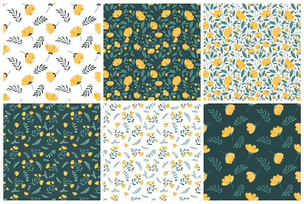 Set of seamless patterns with bright yellow flowers on a dark green and white background