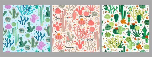 Set of seamless patterns with cacti.