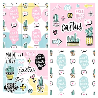 Set of seamless patterns with cactuses, positive phrases, elements.